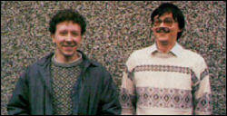 Manchester United: Programmers David Colledge (left) and Pete Harrap (right) circa 1990
